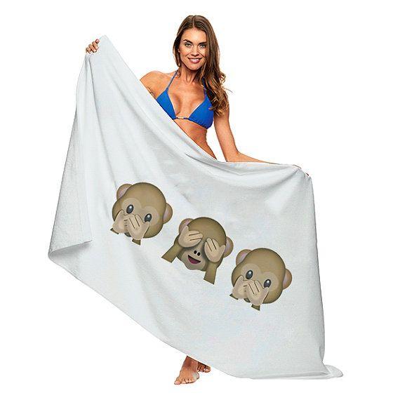 e490939b8 Three Monkey Emoji Emoticon Towel Bath Beach Pool Summer Funny ...