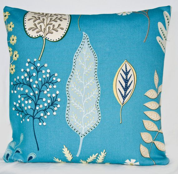 Retro Blue Floral Throw Pillow Cushion Cover in UK Designer Fabric