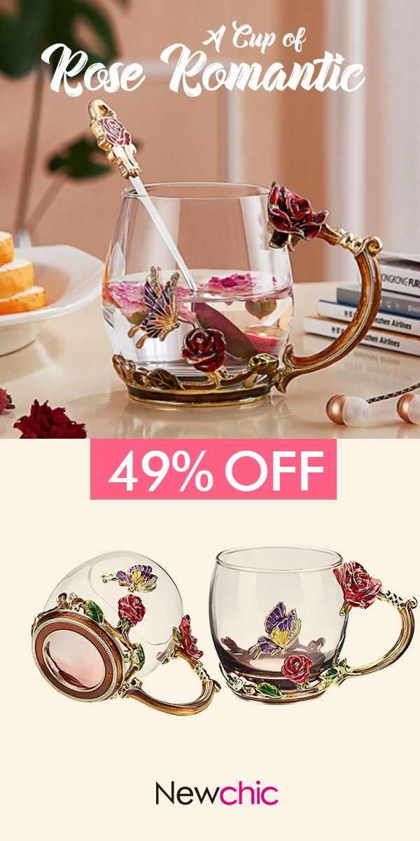 【49% off】Enamel Glass Rose Flower Tea Cup Set Spoon Coffee Cup Cold Drinks Beer Mug.#cup #flower #gifts #coffeecup