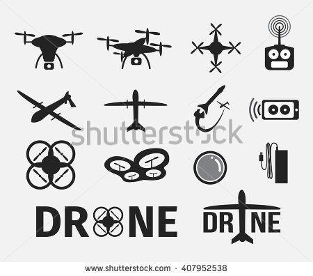 drone icon set Drone logo, Drone design, Drone