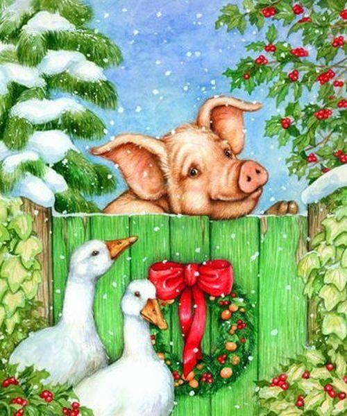 являются картинки для декупажа свиньи новогодние признаки