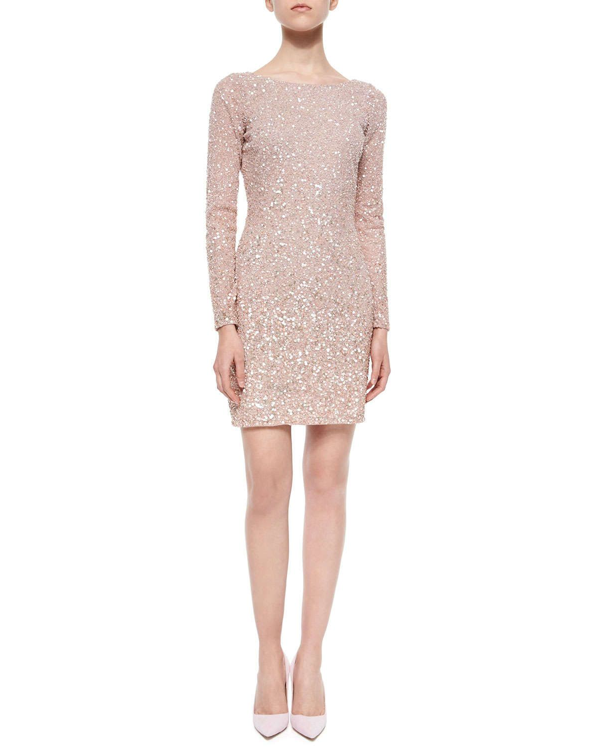 566650bad15 Aidan Mattox Long-Sleeve Sequined Cocktail Dress