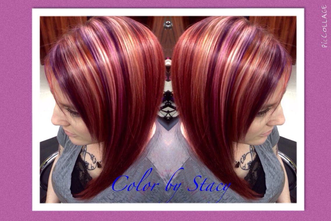 Plumcopper red and blonde highlights női frizurák pinterest