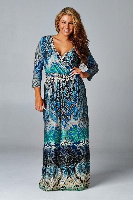 a2ee2739e8dce PLUS SIZE BEAUTIFUL BLUE LONG MAXI DRESS WRAP BOHEMIAN CHIC 3 4 SLEEVE 1X  2X 3X  BLVD805  maxi  Casual