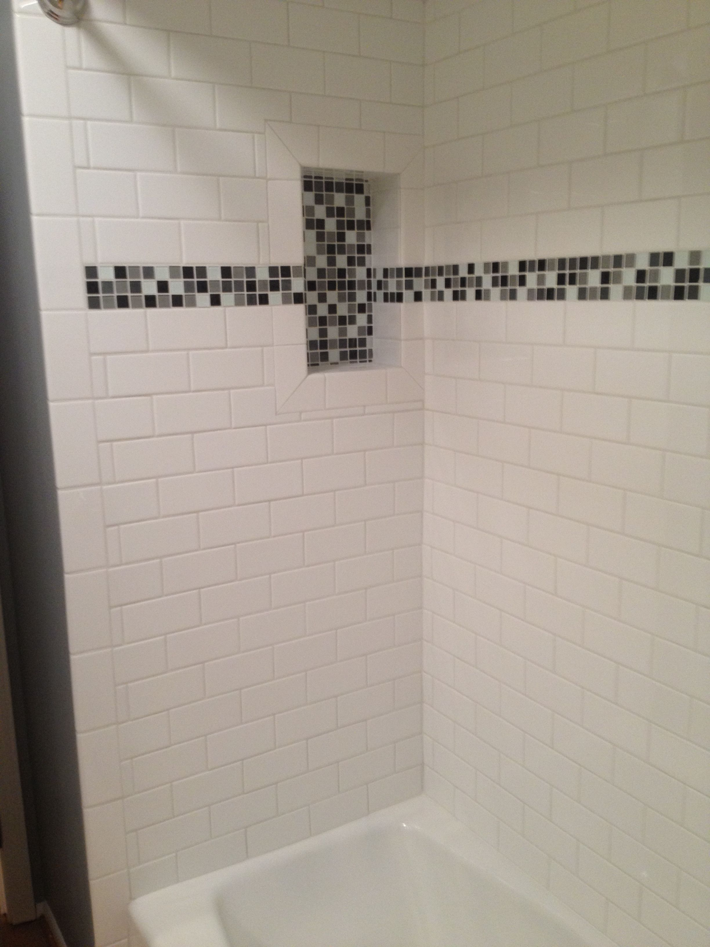 Add A Touch Of Style And Color To Your Shower With A Decorative Band And Recessed Niches Project Done By T Home Remodeling Contractors Home Remodeling Remodel [ jpg ]