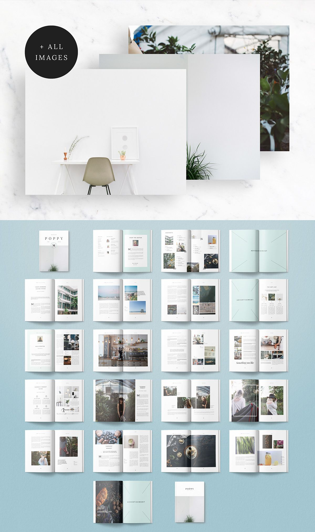 The Poppy Magazine template is a 40 page Indesign magazine template ...