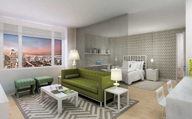Haus Interior: Modern Green U0026 Gray Contemporary Studio Apartment Design  With Hanging Metal Partition, .