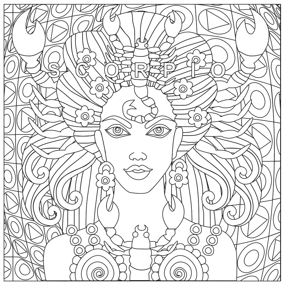 scorpio coloring page zodiac coloring pages for adults scorpio color color adult coloring. Black Bedroom Furniture Sets. Home Design Ideas