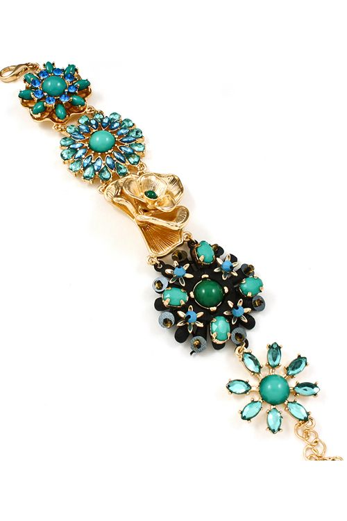 Alexa Bracelet in Teal Crystal - Stunning Marquise, Teardrop, Polished and Round Crystal Charms mixed with a single Golden Rose