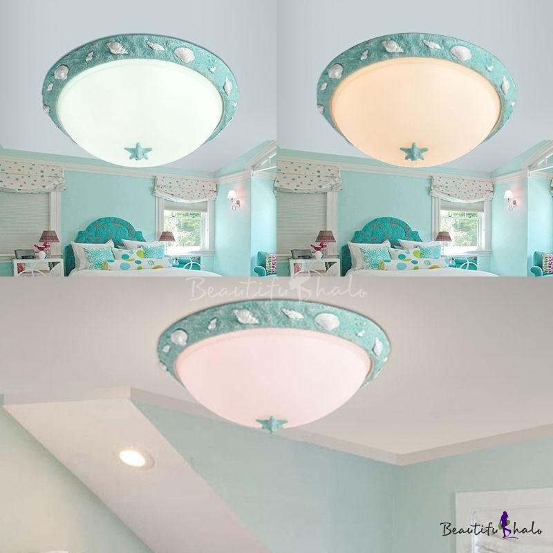 Seaside Resin Bowl Flushmount Kids Room 1 Light Ceiling ...