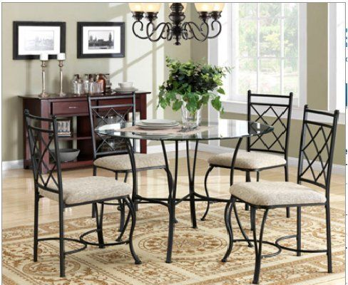 Mainstays 5 Piece Glass Top Metal Dining Set Metal Dining Room