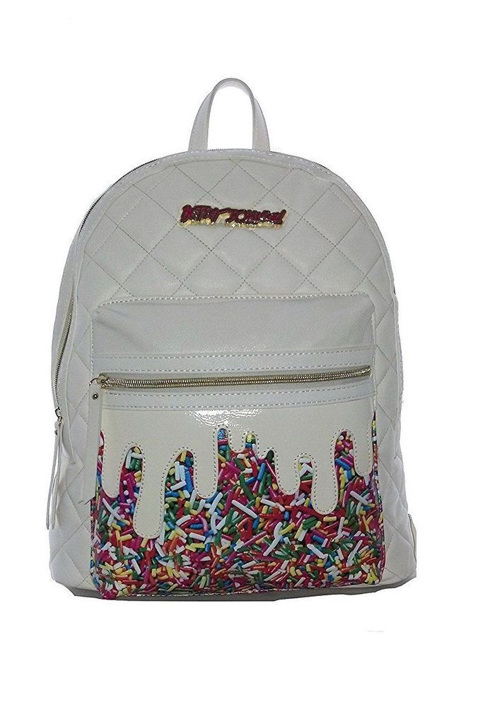 51d53cf688 Betsey Johnson KITSCH RAINBOW SPRINKLES BACKPACK BM19300 CREAM Diamond  Quilted  BetseyJohnson  BackpackStyle