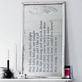 Image Gallery Website Embellish an old mirror with Bowie Lyrics
