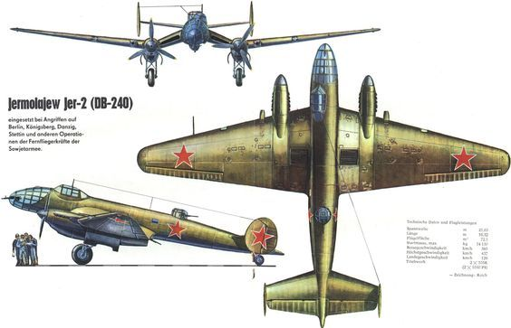 Ермолаев Ер-2 (ДБ-240) Yermolayev Yer-2 (DB-240) the Soviet long-range bomber WW II