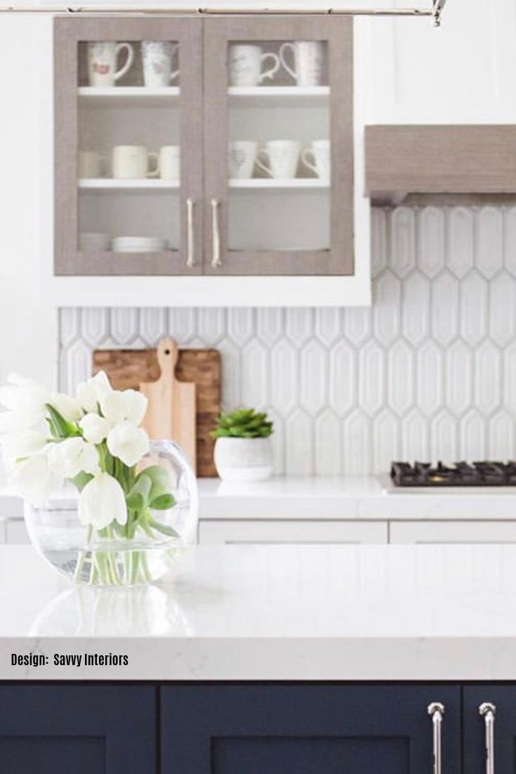 Nabi Glacier White Hexagon Ceramic Tile Kitchen Backsplash