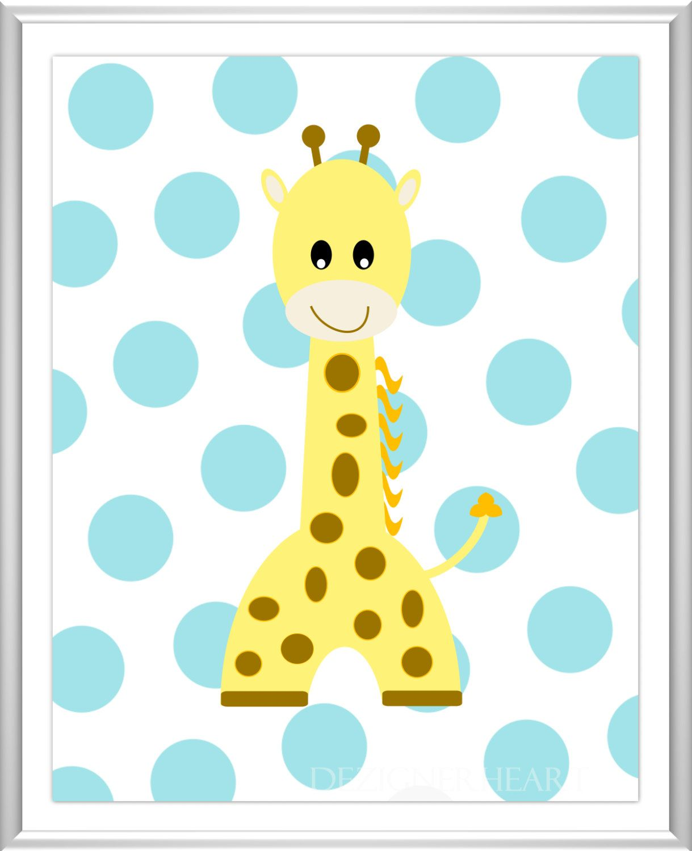 Baby Nursery Wall Art Elephant Giraffe Lion Blue Gray Yellow Baby ...