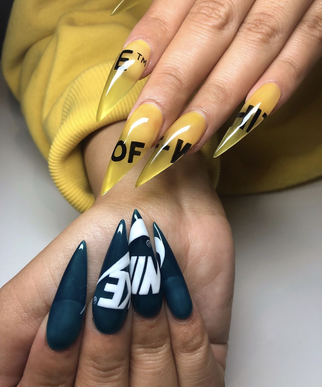 Offwhite Nike Nails Longnails Nailextensions Nike Nails