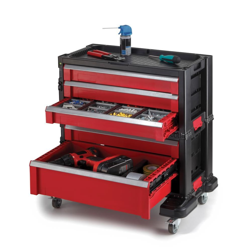 Keter 22 In 5 Drawer Roller Cabinet Tool Chest System 217603 The Home Depot Tool Storage Tool Chest Storage System