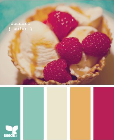 dessert color — teal, raspberry