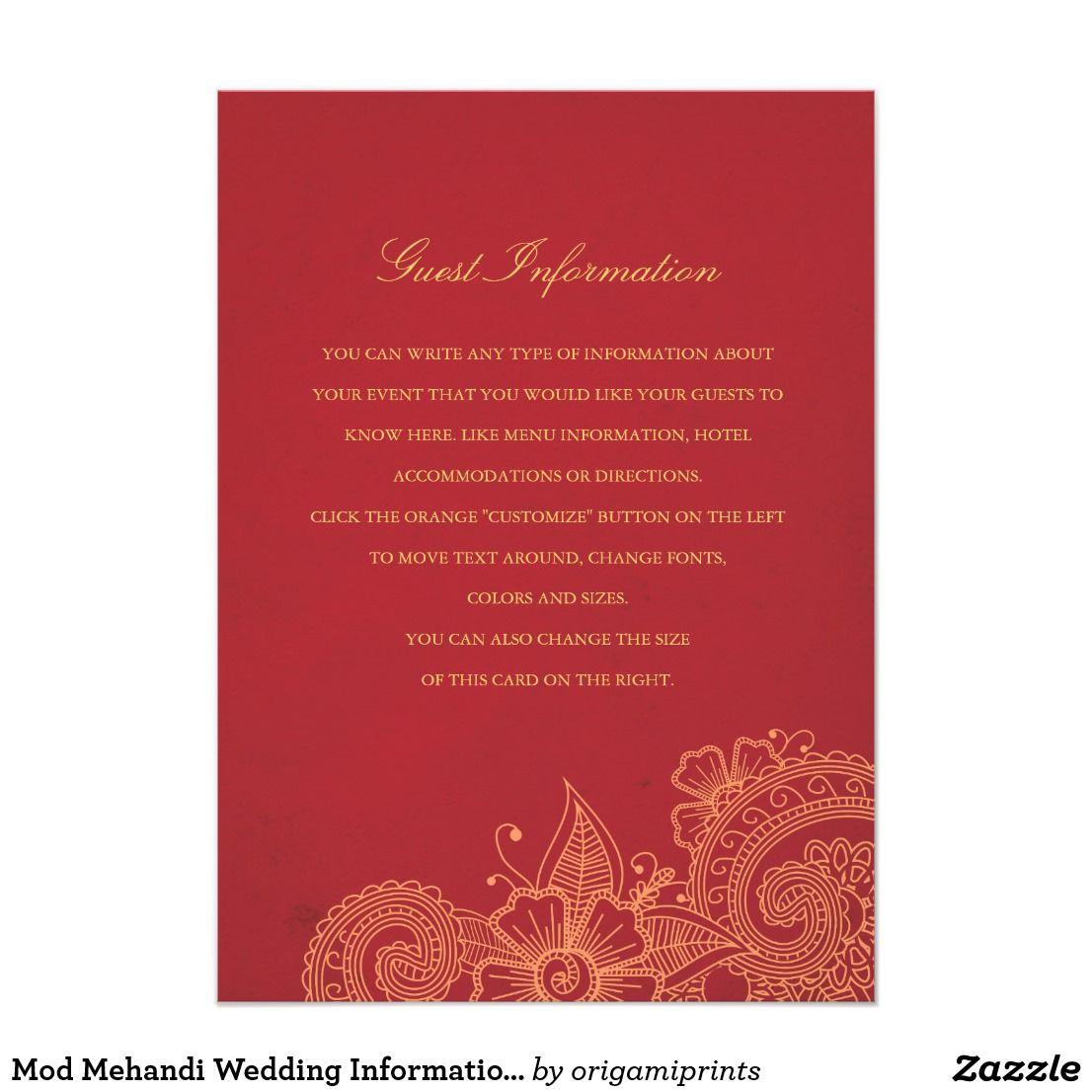Mod Mehandi Wedding Information Insert Card Elegant henna inspired ...