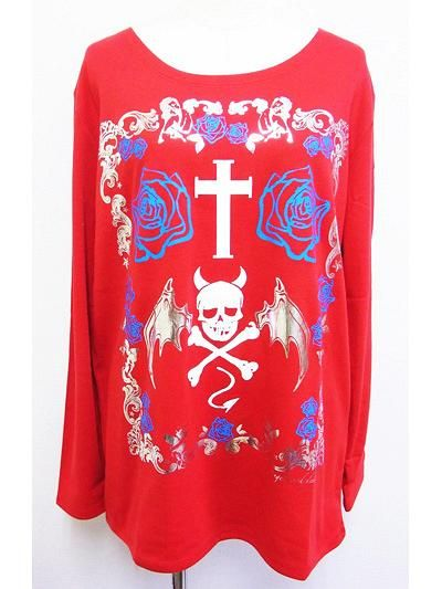 Framed Devil Skull BIG Long Sleeve T-Shirt Red. See more at: http://www.cdjapan.co.jp/apparel/superlovers.html #harajuku #LISTEN FLAVOR