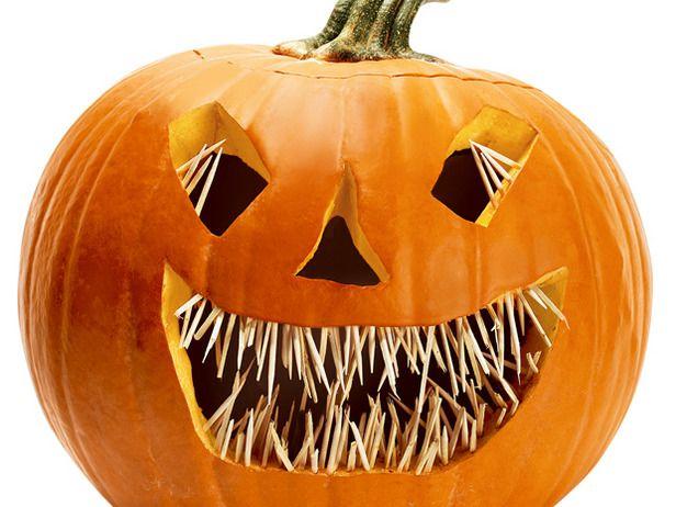 Scary pumpkin using toothpicks!