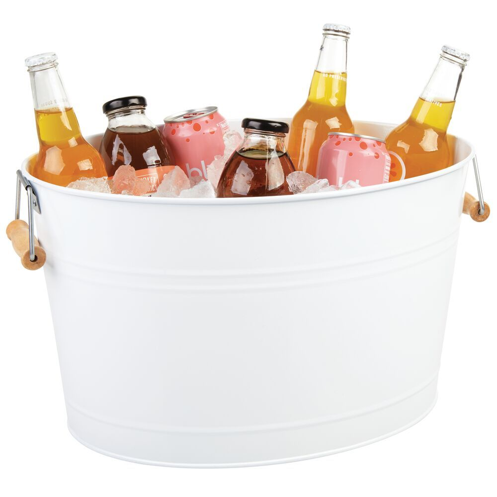 """Metal Beverage Tub and Ice HolderWhite 18 Liters 13 2"""" x 16"""" x 9"""" by mDesign"""