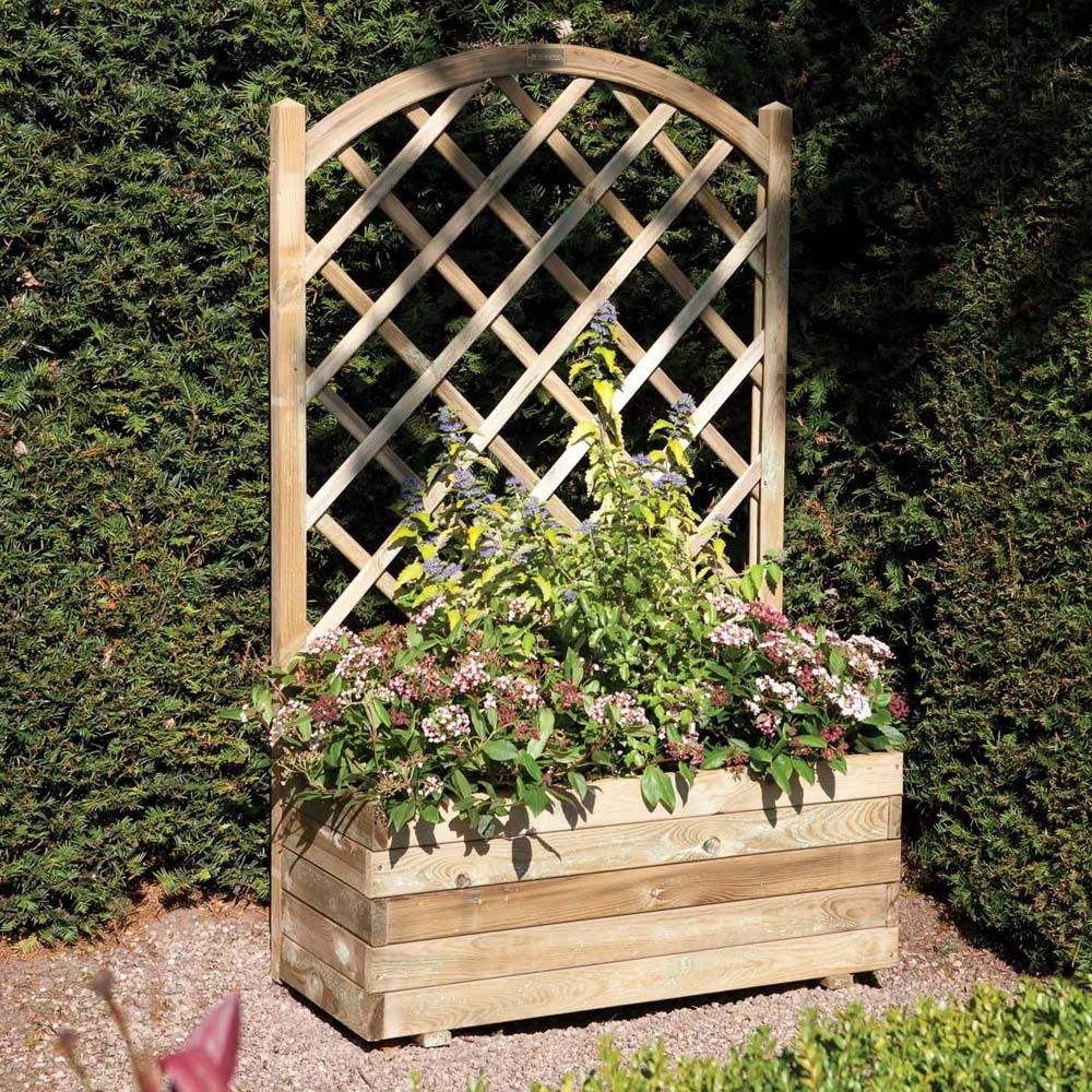 Rectangular Planter Lattice For My Tomatoes And Fence Divider All In One Rectangular Planters Wooden Garden Planters Wooden Garden
