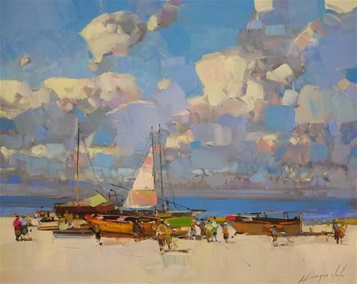 """Daily Paintworks - """"Boats, original oil Painting, oil on canvas made by palette knife"""" - Original Fine Art for Sale - © V Yeremyan"""
