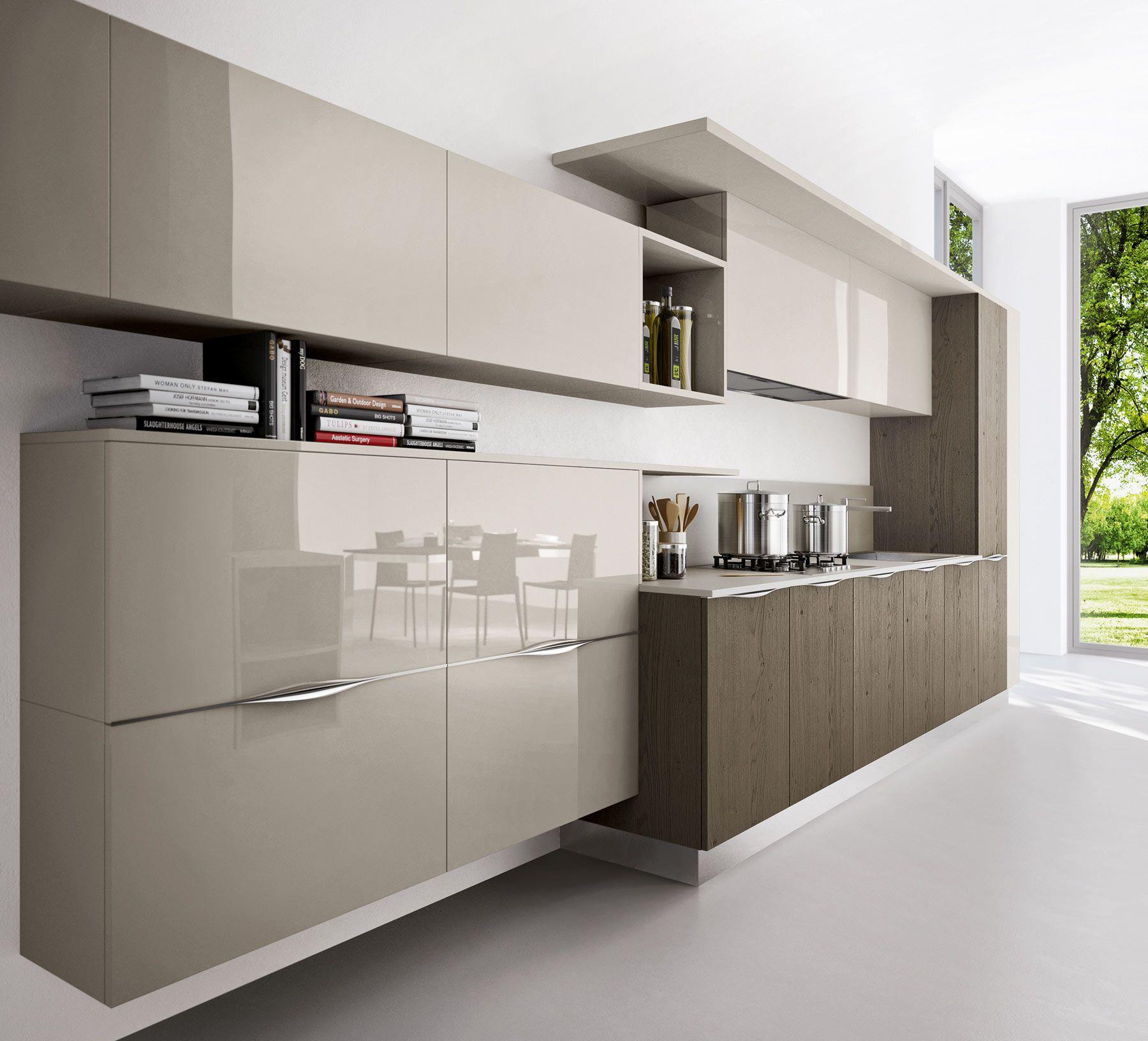 Arredo3 asia collection veneered cenere oak glossy - Moretti cocinas ...