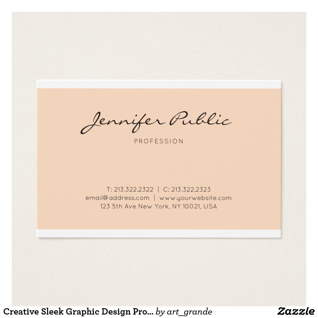 Creative Sleek Graphic Design Professional Plain Business Card