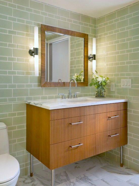 Light Green Subway Tile Home Improvement Bathroom Design