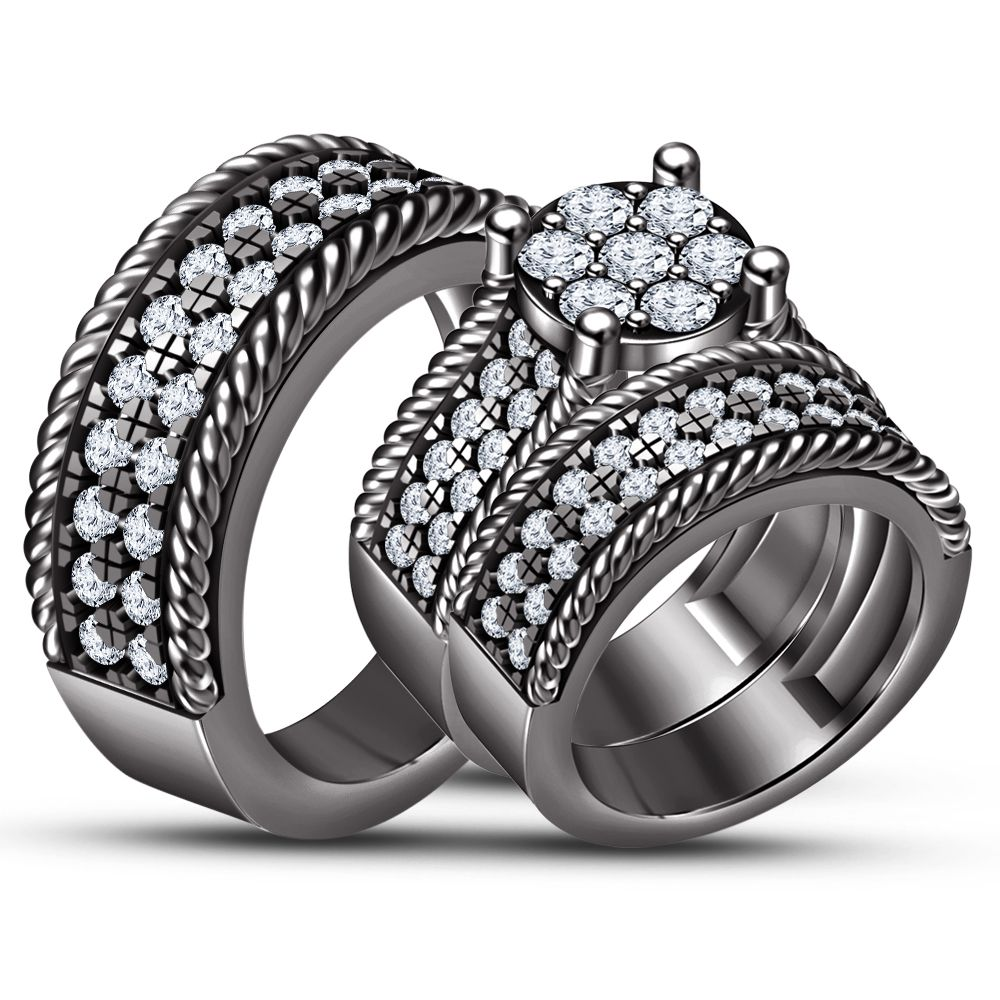 His And Her Diamond Trio Ring Set 14k Black Gold Finish