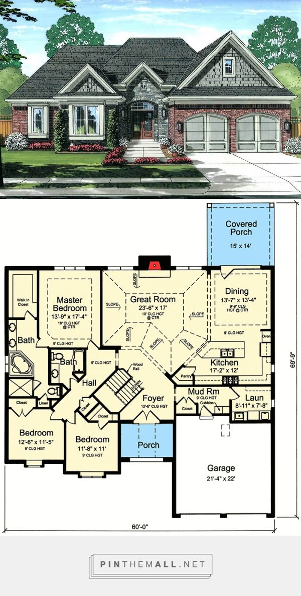 Photo of Plan 39236ST: Three Gables and Vaulted Great Room