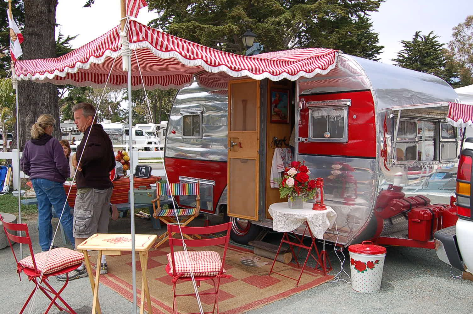 Red And White Peppermint Striped Side Awning On A 1954 Dalton