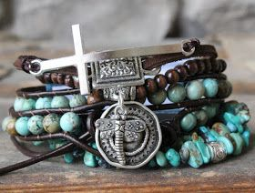 stacked layered bracelets stack bohemian boho turquoise leather wrap wood cross beads stones neutral casual earthy