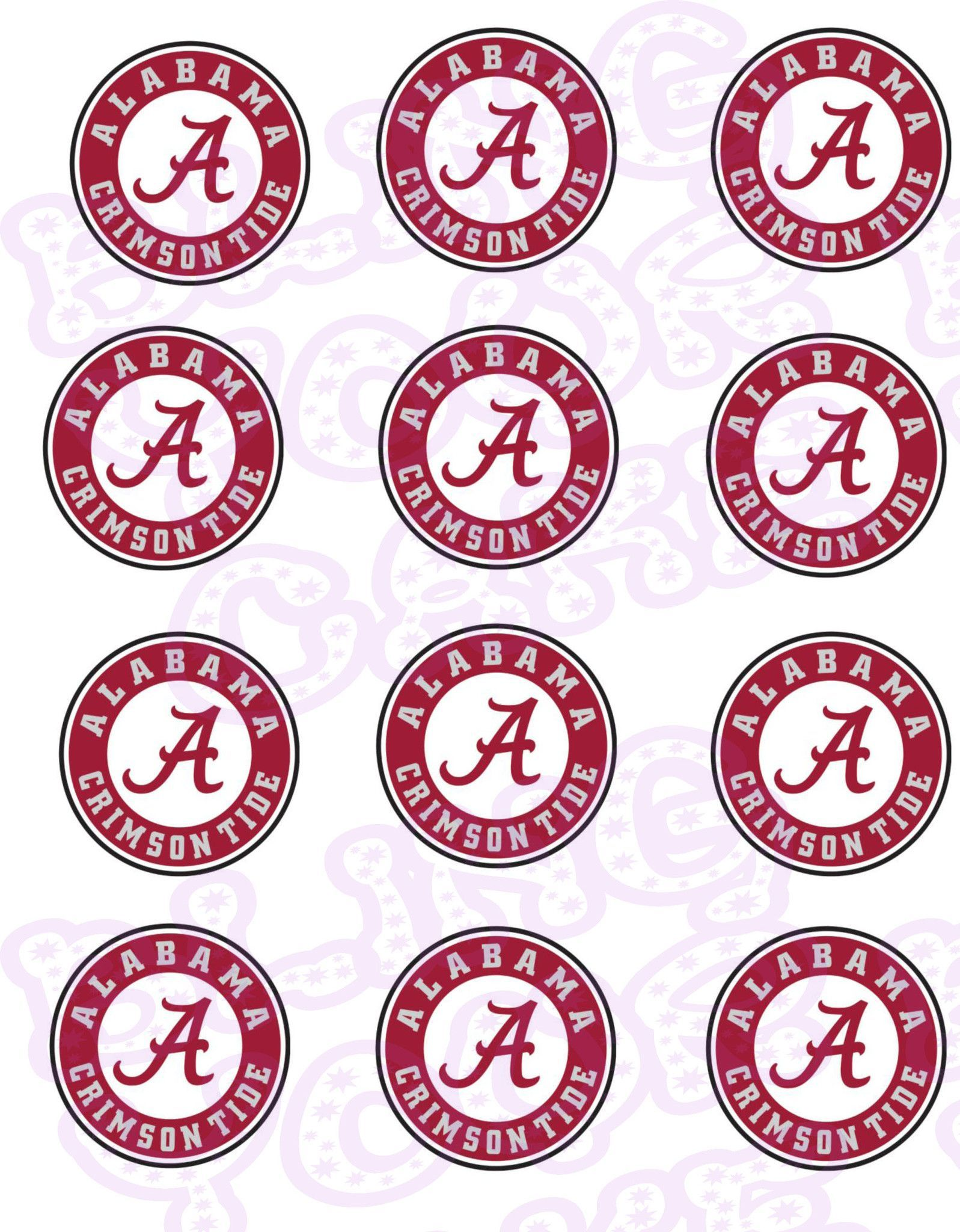 University Of Alabama Edible Icing Sheet Cake Decor Topper Ua1