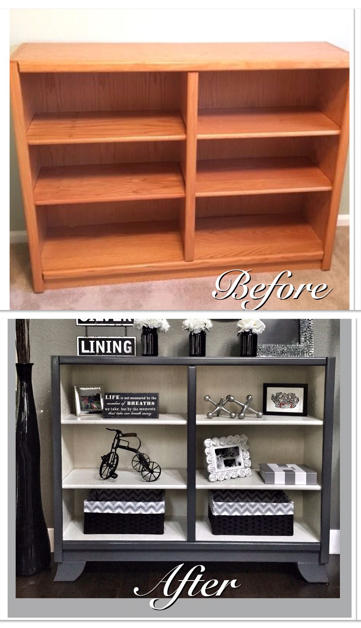 Before After Drab Oak Shelf Refinished Add Some Legs Paint Out In A Soft Cream And Mod Grey Get Gorgeous Results