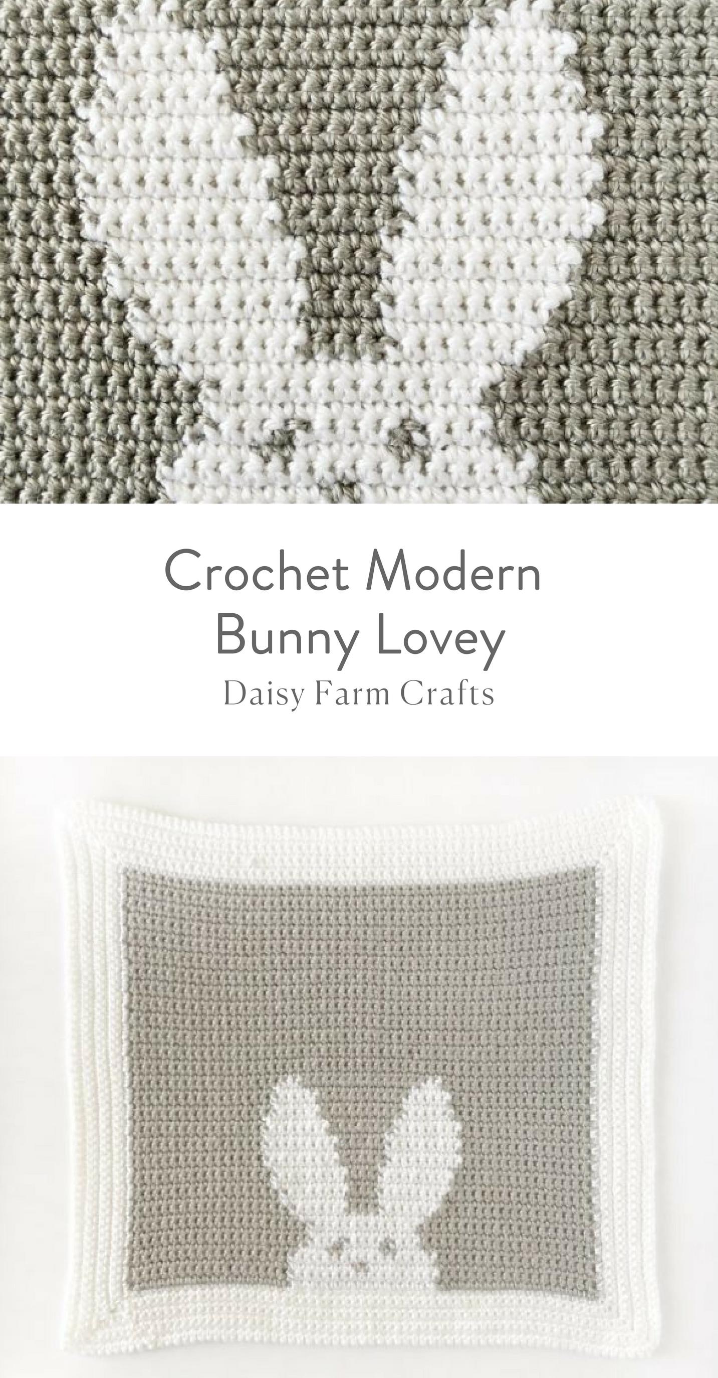 Free Pattern - Crochet Modern Bunny Lovey Blanket | Daisy Farm ...