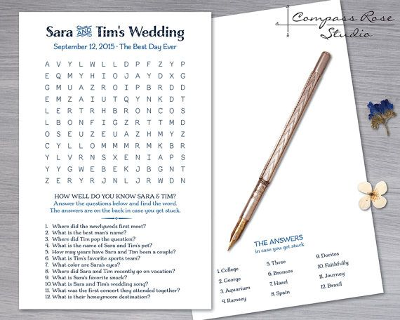 Custom Wedding Game Diy Printable Or Printed Word Find Word Search Crossword Puzzle Questions Wedding Games Wedding Games Questions Wedding Table Games