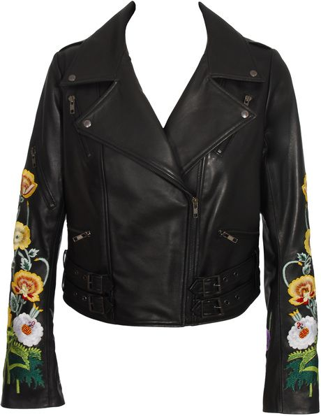 fc4a58d0c8d NVM - found it Christopher Kane Leather Biker Jacket with Embroidery in  Black - Lyst