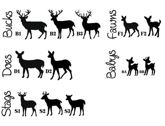 Custom 2 Color Ing Deer With Babies Family Vinyl Decal Sticker