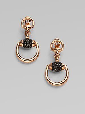 5e4bfce1324 Gucci 18K Pink Gold Black Diamond Horsebit Earrings