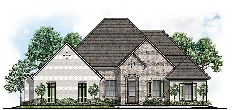 European Style House Plan with 4 Bed 3 Bath 2 Car Garage