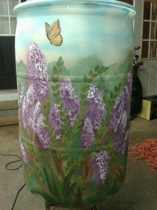 Lilacs And Butterflies Rain Barrels Water Barrel