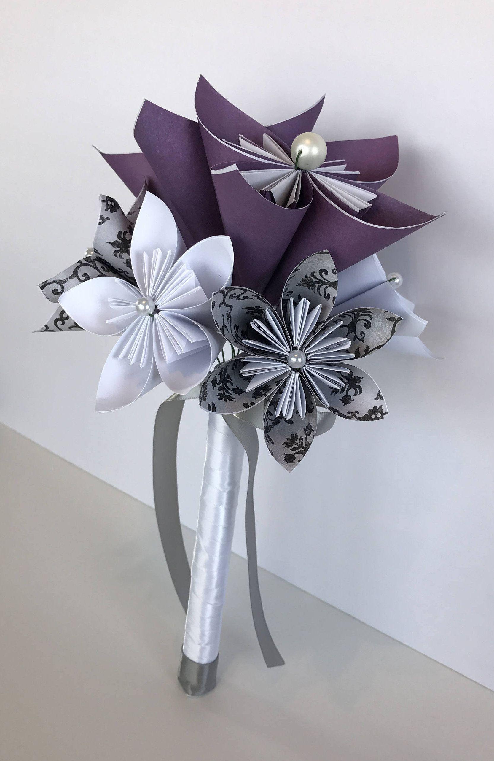 Origami Paper Flower Bridal Bouquet/Purple/White/Gray/Kusudama ...