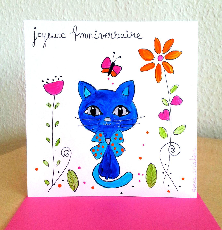 carte anniversaire carte peinte a la main carte fait main carte chat cartes par sonia. Black Bedroom Furniture Sets. Home Design Ideas