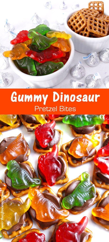 Gummy Dinosaur Pretzel Bites Dinosaur birthday party Dinosaur