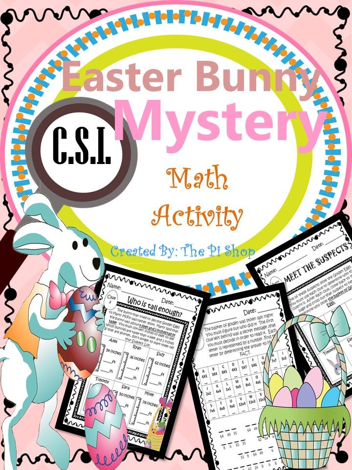 Easter Math Review Activity  C S I  Mystery  No Prep