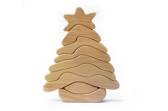 Wooden toy christmas tree waldorf puzzle building blocks educational